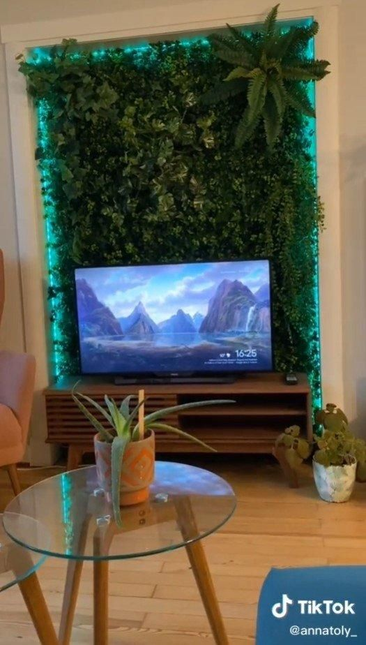 This living wall (as seen on TikTok) really helps the TV in front of it pop.