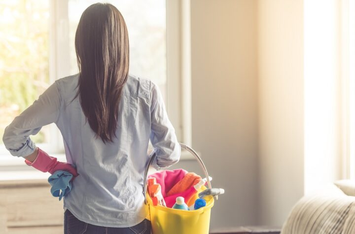 back view of woman holding cleaning supplies looking out window at sunshine