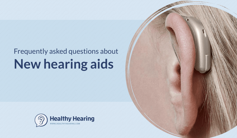 """Illustration stating """"Frequently asked questions about new hearing aids"""""""